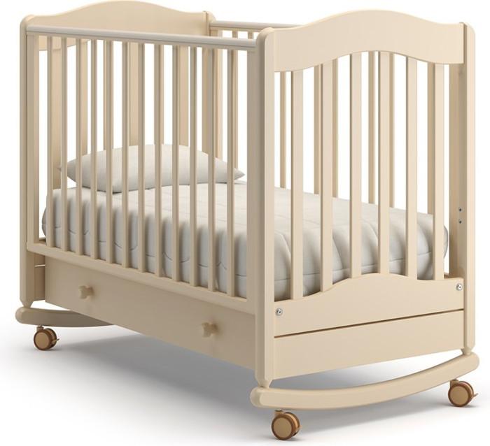 Детская кроватка Гандылян Ванечка качалкаВанечка качалкаДетская кроватка Гандылян Ванечка качалка  Благородный дизайн кроватки-качалки Ванечка от компании Гандылян украсят спальню или детскую комнату. Выполненная из ценной древесины бука.   Установленная на округлых полозьях, детская качалка поможет нежно укачать новорожденного. Ну а когда малыш немного подрастет, установите ее на колесики со стопорами и получите классическую детскую кроватку.   Характеристики  выдвижной ящик для белья  древесина обработана экологически чистым лаком  отсутствуют острые углы (есть силиконовые накладки)  боковое ограждение оснащено замком и регулировкой высоты  два уровня ложа по высоте  колеса для удобства перемещения  планка для качания  колеса без стопоров  От производителя: Продукция изготовлена из ценной породы древесины - Бук, с применением новейших технологий. Для окраски применяются лаки, не содержащие вредных для здоровья ребенка веществ. Контроль качества производится непосредственно при сборке каждого элемента конструкции. Вся продукция сертифицирована и соответствует Государственному Стандарту.<br>