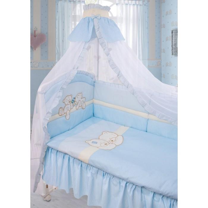 Комплект в кроватку Золотой Гусь Лапушки (8 предметов)Лапушки (8 предметов)Очень нежный и красивый комплект в кроватку. Состоит из 8 предметов:   одеяло: 108х140 холлофан,  подушка: 40х60 холлофан,  простыня на резинке: 110х150,  бампер на 4 стороны (6 частей),  балдахин (сетка): 160х450,  наволочка: 40х60,  пододеяльник: 110х145,  подматрасник (юбка)  Ткань: 100% хлопок, наполнитель: холлофан  Расцветки: арт. 1612 - голубой, арт. 1613 - бежевый, арт. 1614 - зеленый, арт. 1616 - розовый<br>