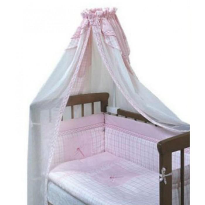 Комплект в кроватку Золотой Гусь Антошка (7 предметов)Антошка (7 предметов)Золотой Гусь, сшитое из натуральных тканевых компонентов. Это белье достаточно мягкое и удобное для малыша, его высококачественные комплекты красиво оформлены кружевами и гипюром. Комплект в кроватку Антошка (7 предметов):   одеяло: 108х140 холлофан/шерсть  подушка: 40х60 холлофан/шерсть  простыня на резинке: 110х150  бампер: 360х45 (4 части)  балдахин: 160х450 (вуаль-жатка)  наволочка: 40х60  пододеяльник: 110х145  Ткань: 50% лен, 50% хлопок наполнитель: холлофан, шерсть   Расцветки: арт. 1022 - голубой, арт. 1025 - натуральный, арт. 1026 - розовый.<br>