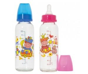 Бутылочка Курносики стекло силиконовая соска Пират и Принцесса 250 мл