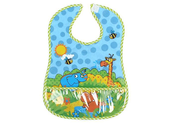 Нагрудник Бусинка на липучке с карманом Веселые животные